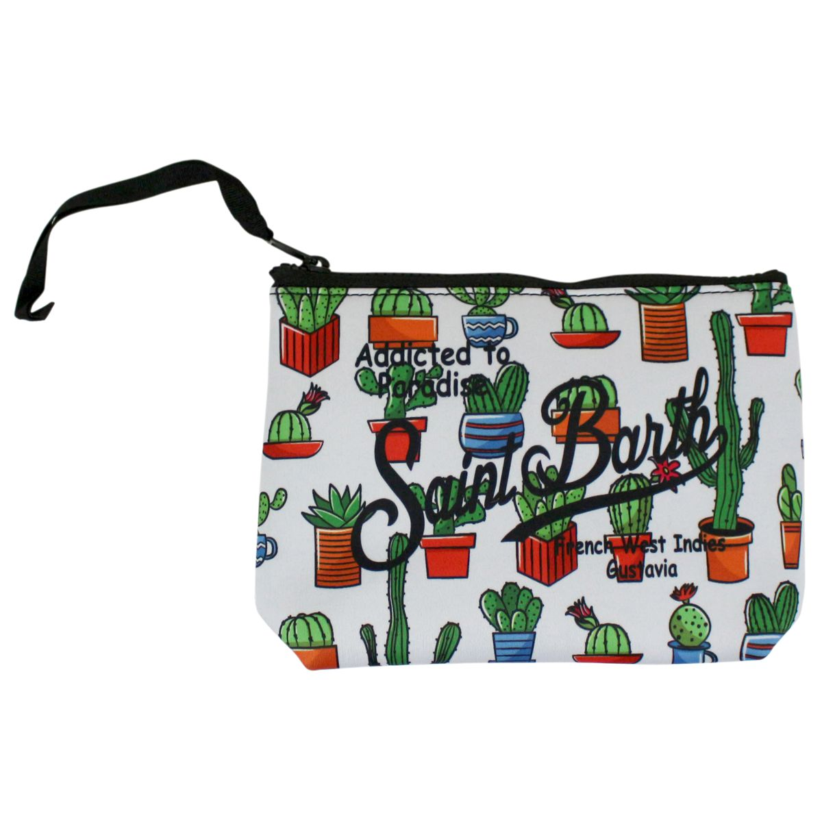 Pochette in canvas with cactus print White green MC2 SAINT BARTH