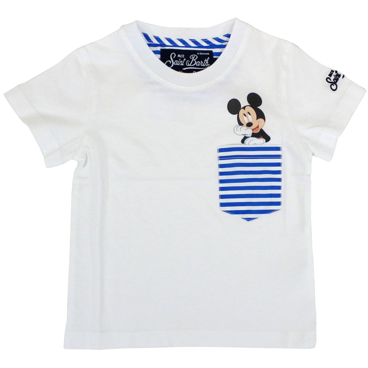 T-shirt with Mickey print and striped pocket White MC2 Saint Barth