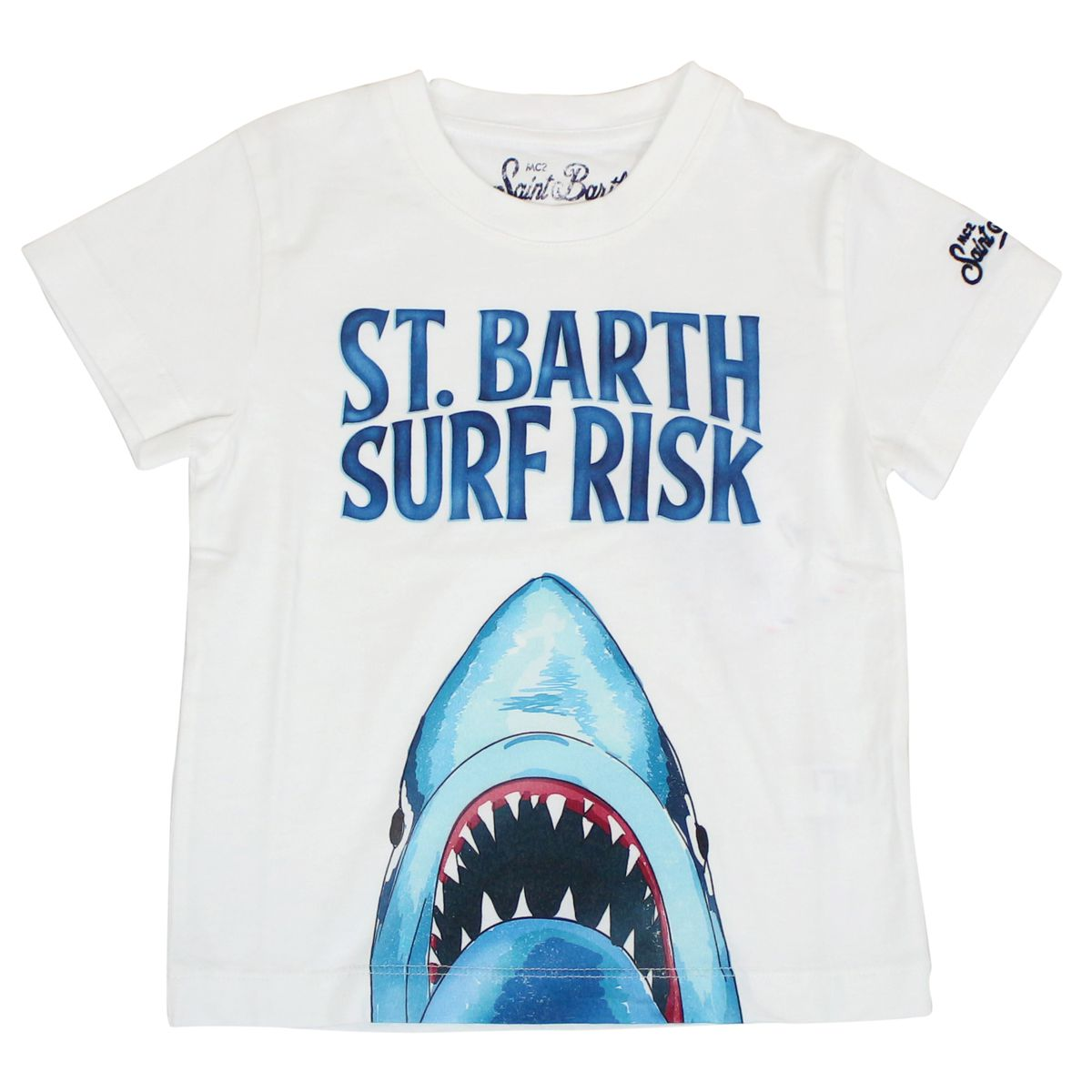 Crewneck T-shirt with shark print White MC2 Saint Barth