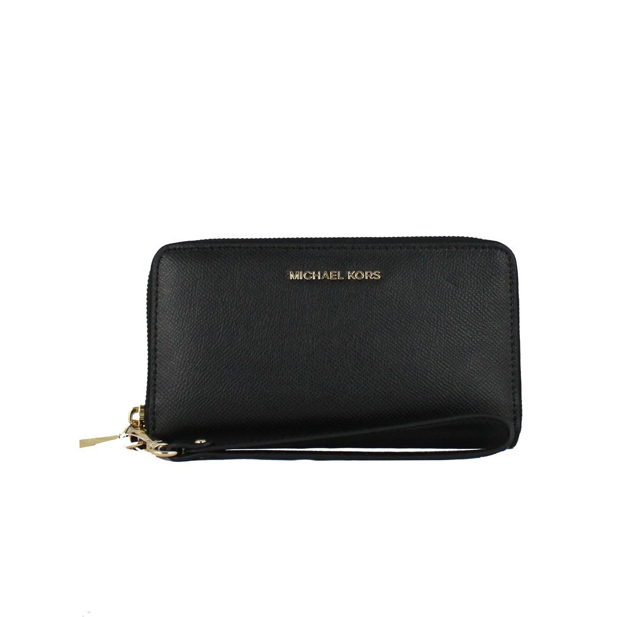 Wrist bag Wristlets in saffiano leather Black Michael Kors