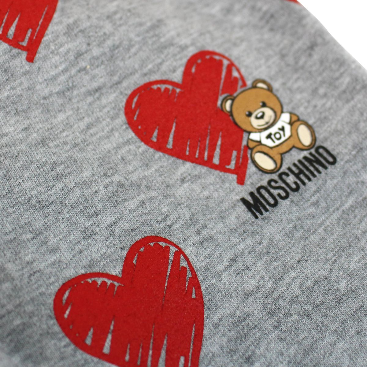 Cotton leggings with Teddy Bear print and all over hearts Grey Moschino