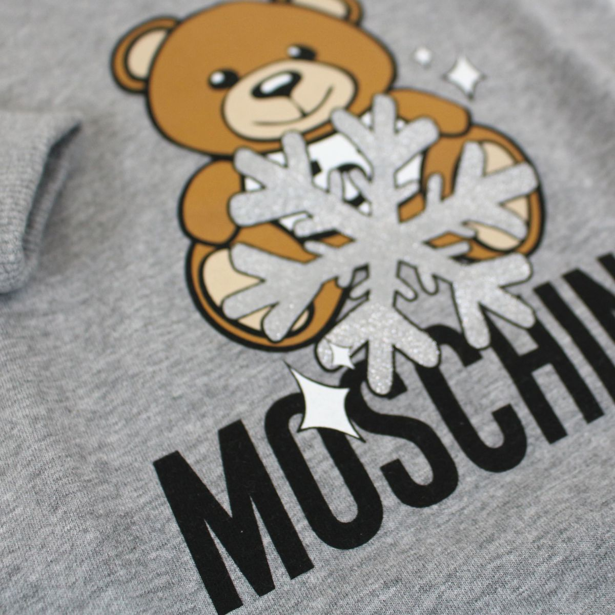 Cotton fleece dress with Teddy Bear print Light grey Moschino