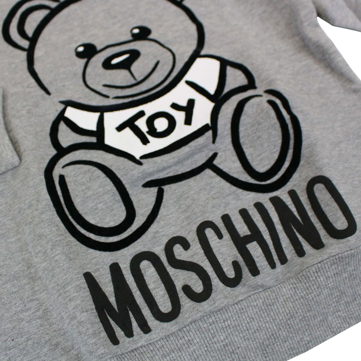 Cotton crew neck sweatshirt with Teddy Toy print Light grey Moschino