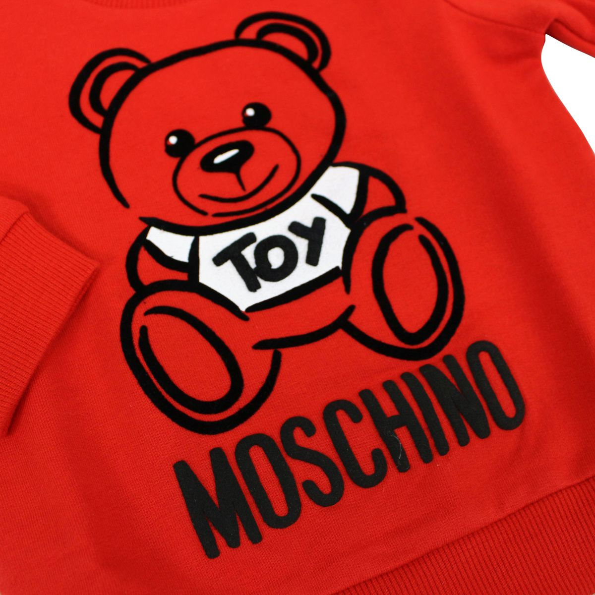 Cotton crew neck sweatshirt with Teddy Toy print Red Moschino