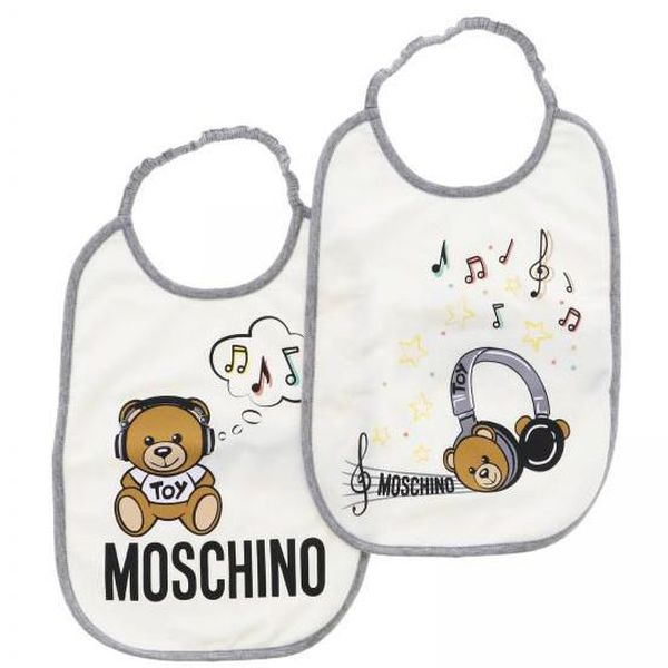 Set of cotton bibs with Teddy Toy print Grey Moschino