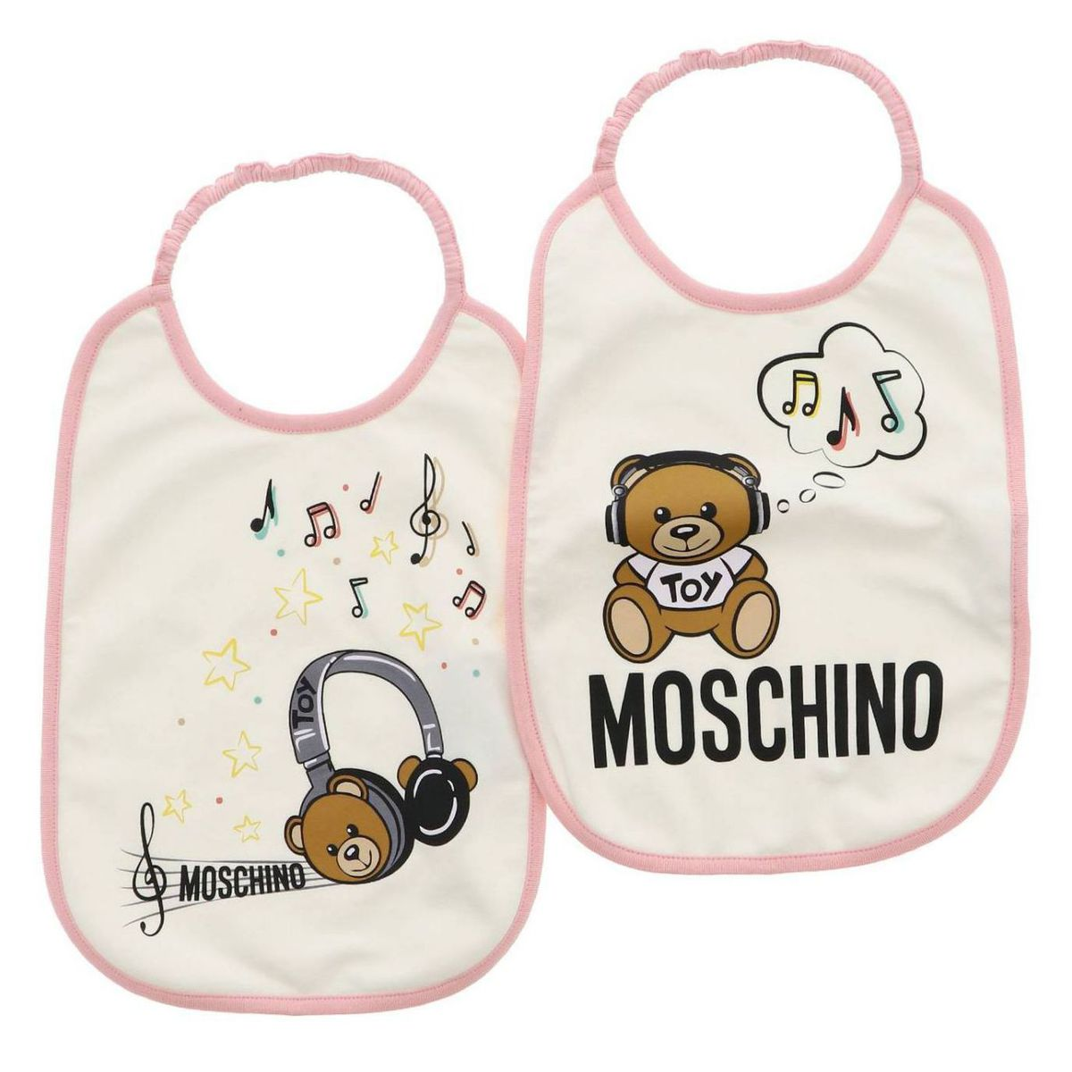 Set of cotton bibs with Teddy Toy print Pink Moschino