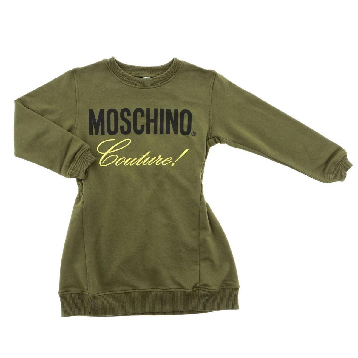 Cotton crew neck dress with logo print Green Moschino