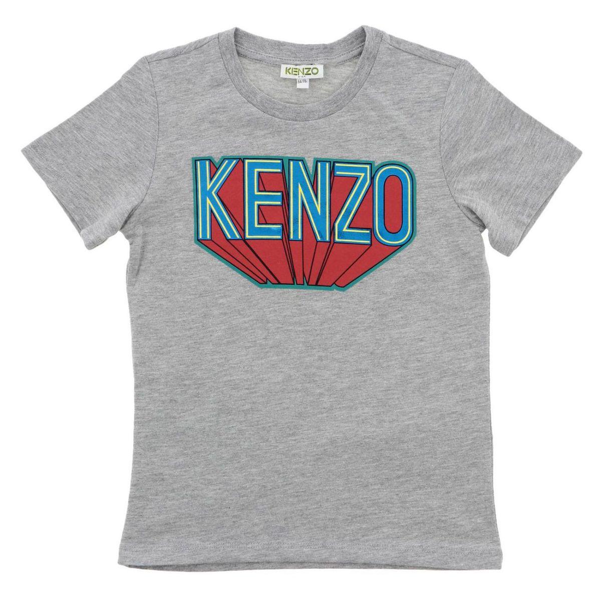 Cotton t-shirt with superhero logo print Medium gray Kenzo