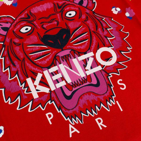 Maglia in cotone con stampa Tiger e fiori Rosso Kenzo
