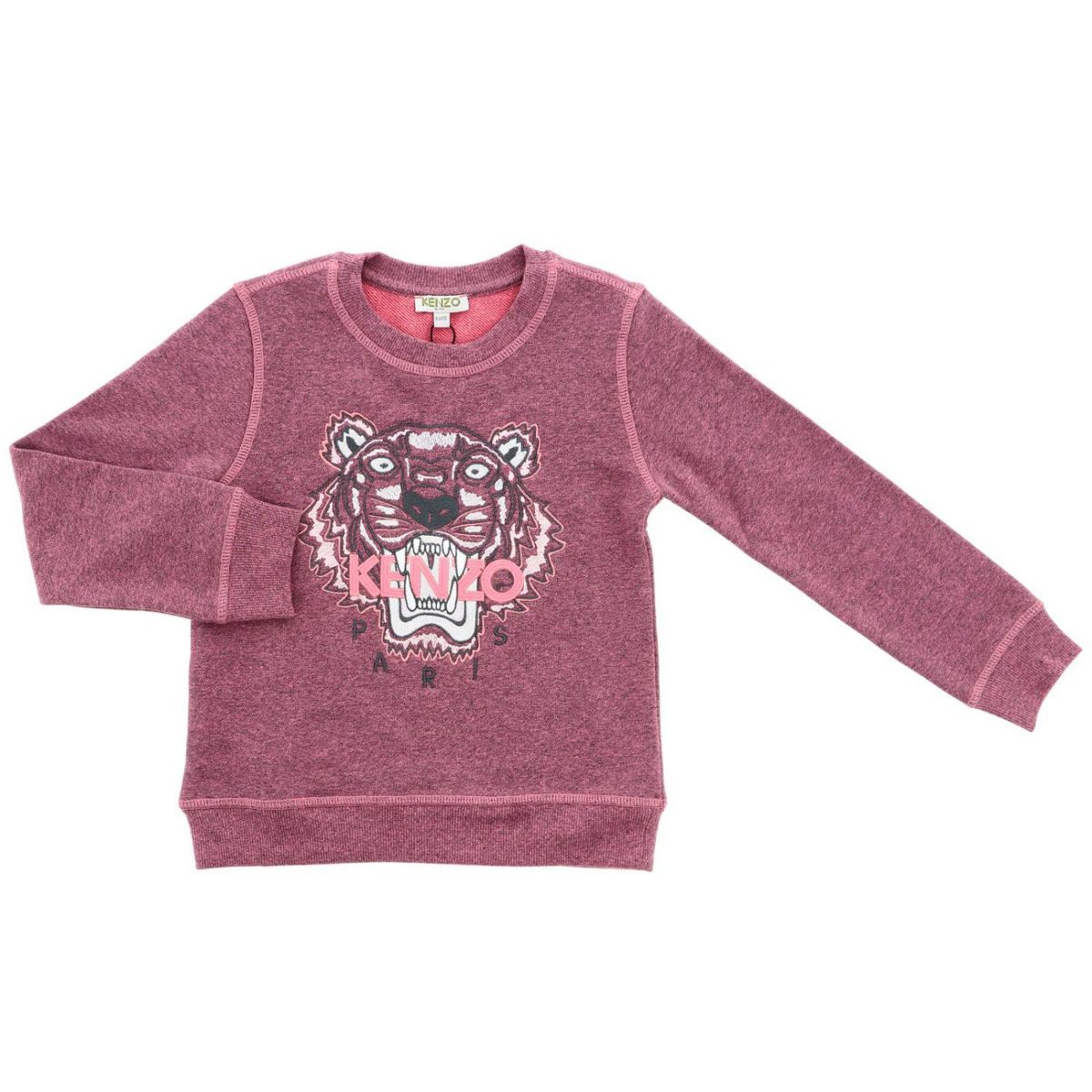 Cotton crewneck sweatshirt with Tiger patch Deep pink Kenzo