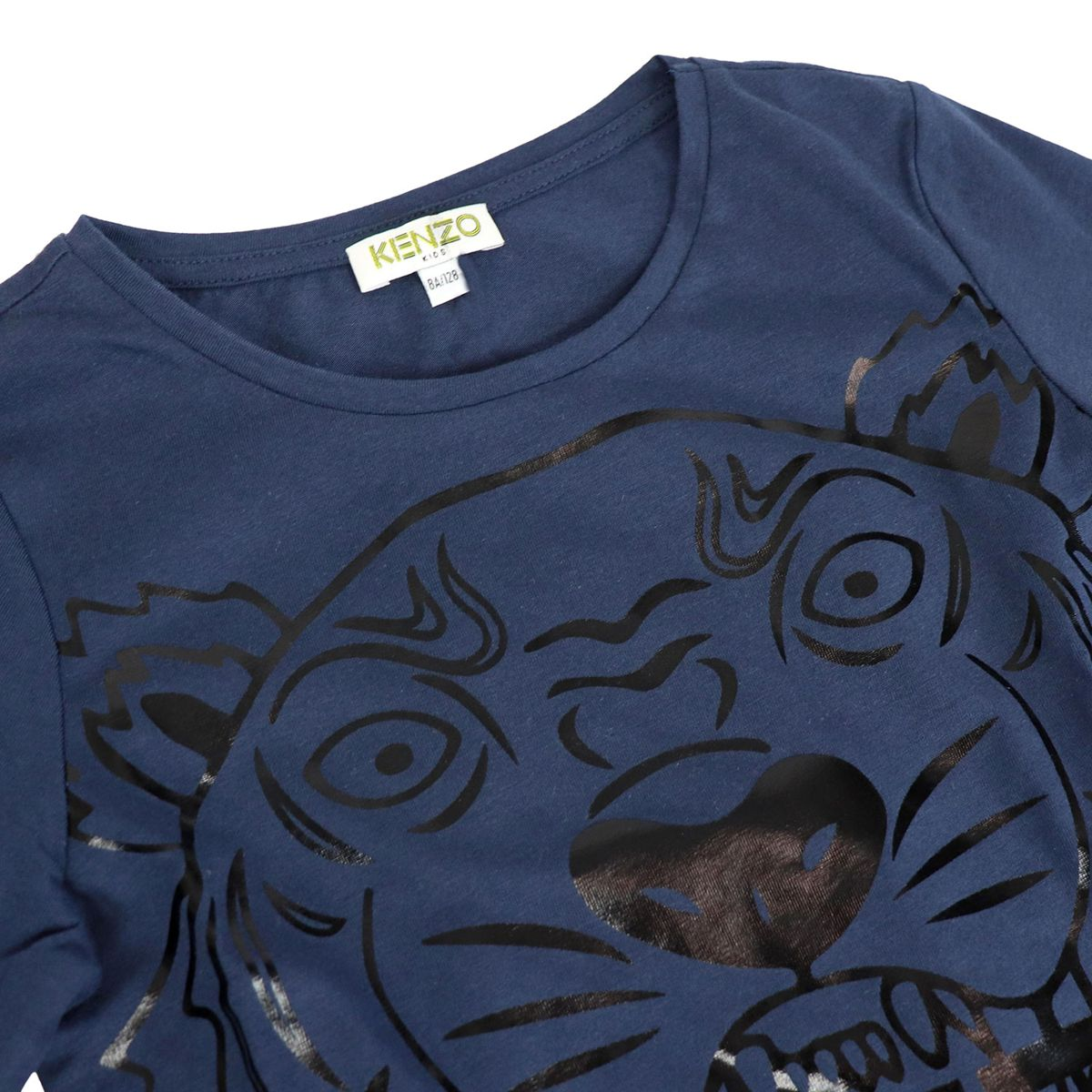 Cotton crew neck sweater with maxi Tiger print Blue Kenzo