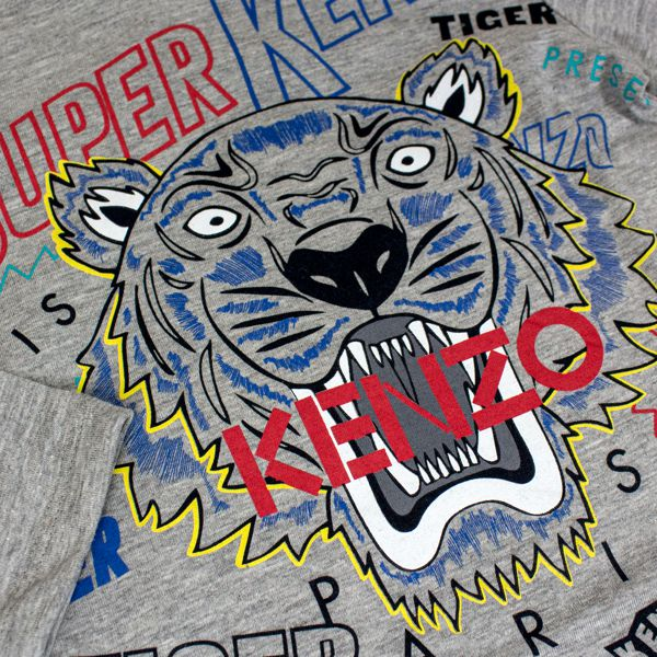 Shirt with Tiger print and lettering Medium gray Kenzo