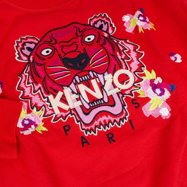 Cotton sweatshirt with Tiger embroidery Red Kenzo