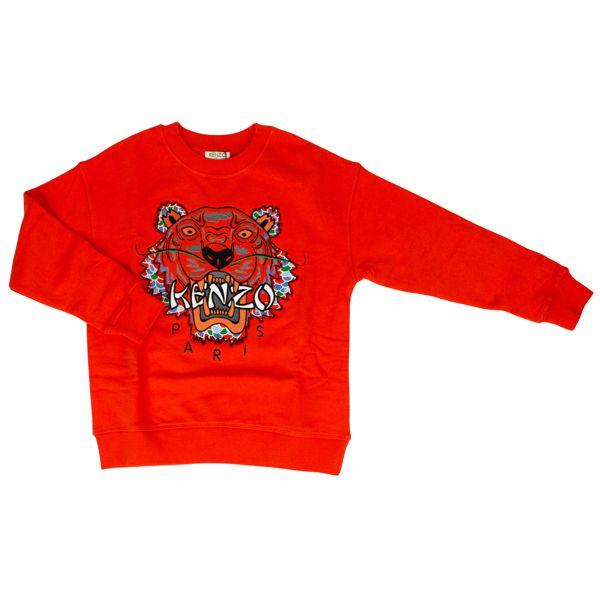 Cotton sweatshirt with multicolor Tiger embroidery Orange Kenzo