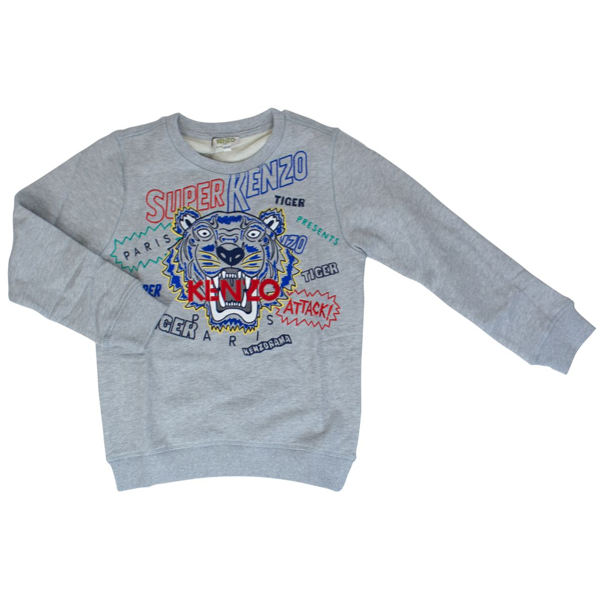 Sweatshirt with Tiger print and multicolor lettering Medium gray Kenzo