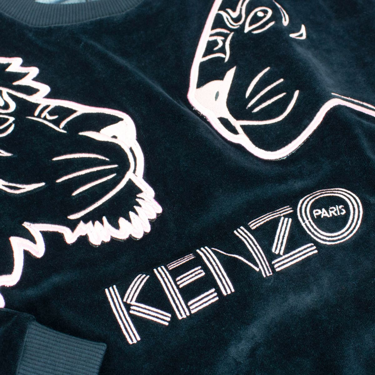 Velvet sweatshirt with double Tiger print Blue Kenzo