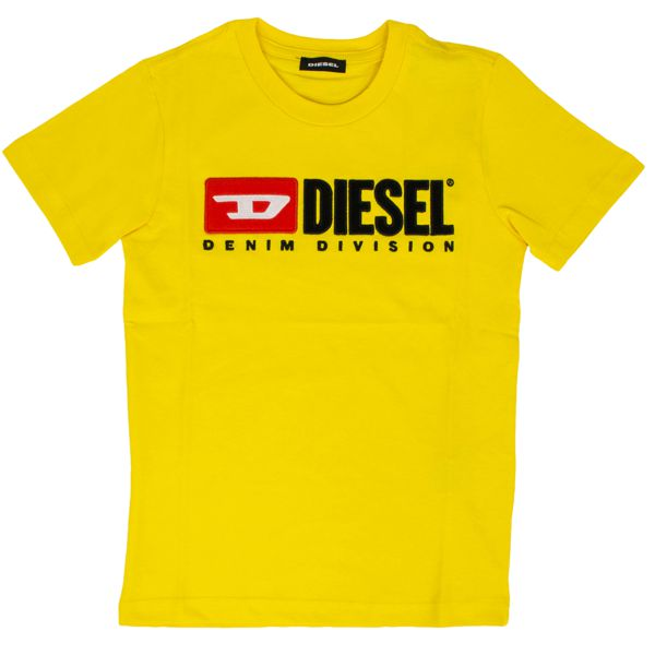 Cotton T-shirt with logo embroidery Yellow Diesel