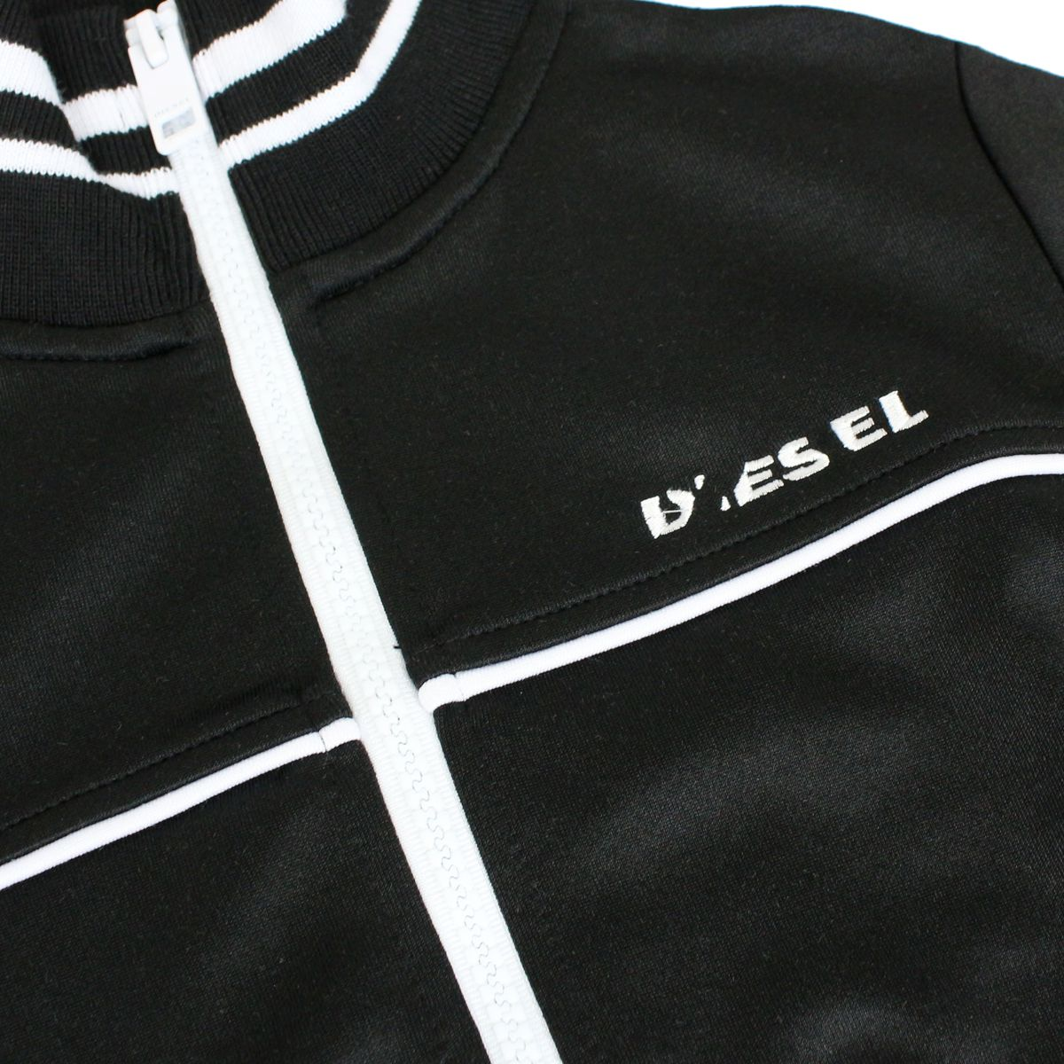 Sweatshirt with zip and contrasting stripes Black Diesel