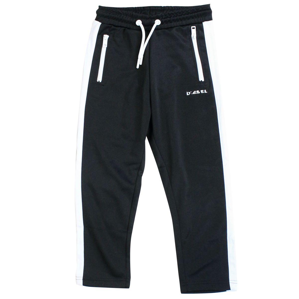 Cotton blend jojjing trousers with logo Black Diesel