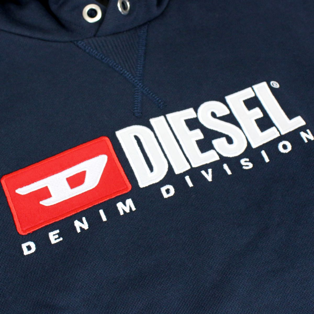 Cotton sweatshirt with hood and logo patch Blue Diesel
