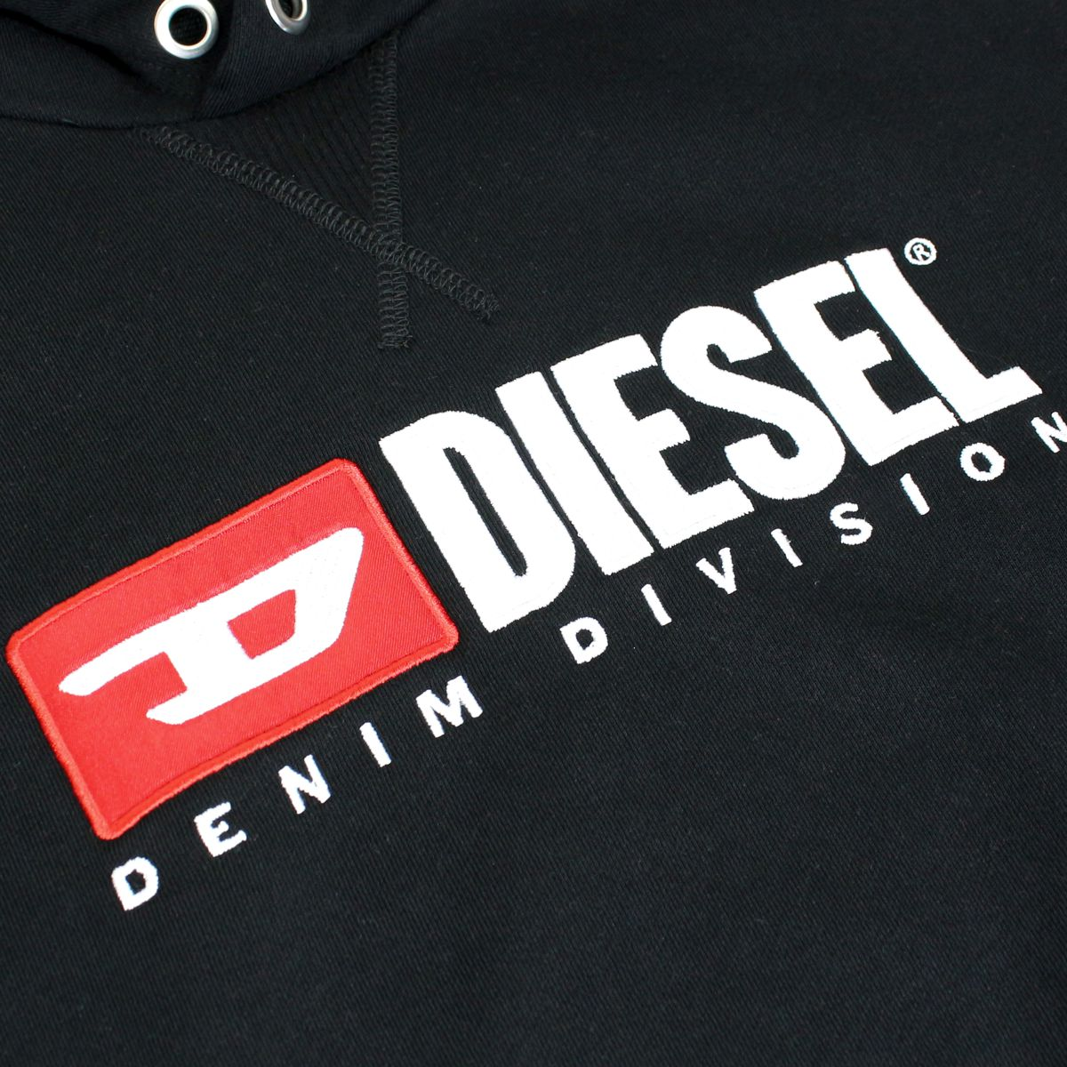 Cotton sweatshirt with hood and logo patch Black Diesel