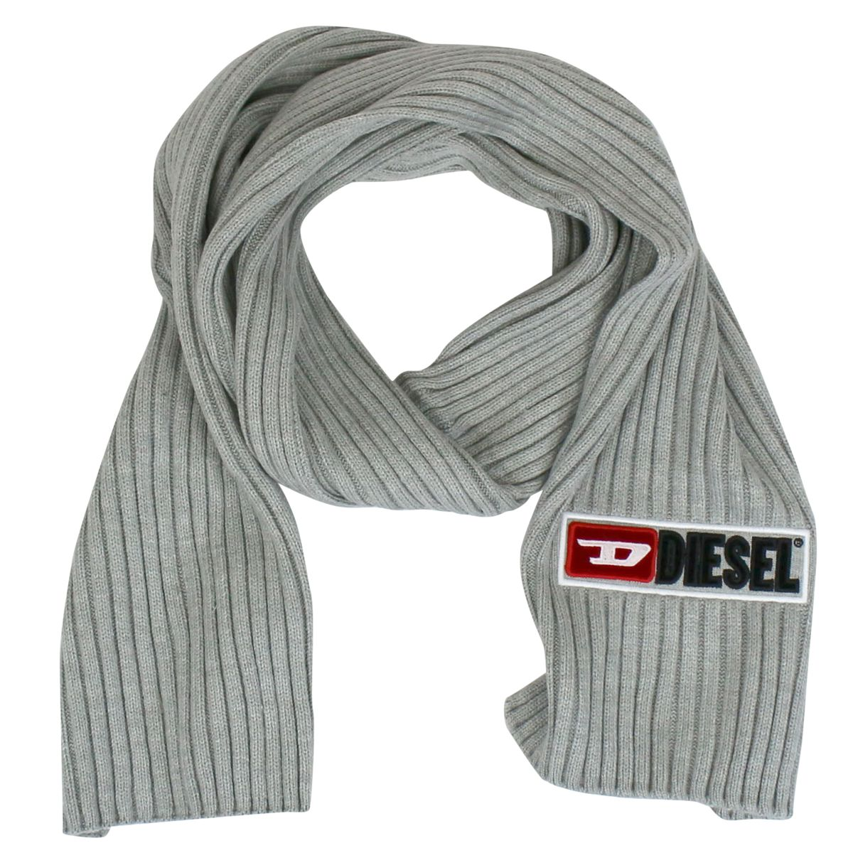 Ribbed scarf with logo embroidery Grey Diesel