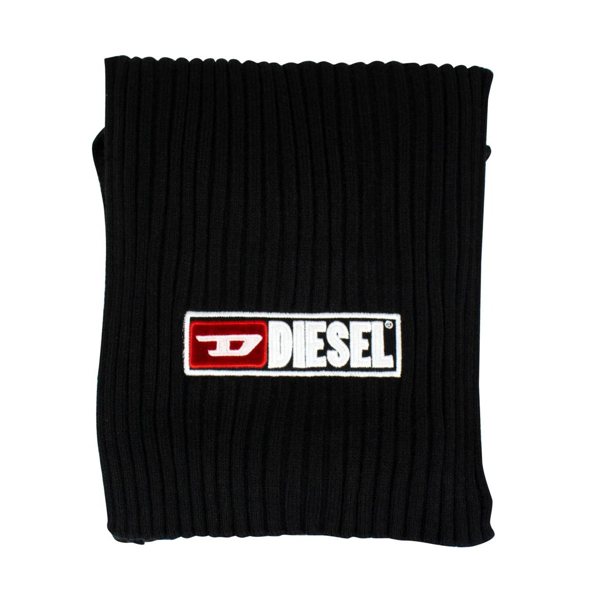 Ribbed scarf with logo embroidery Black Diesel