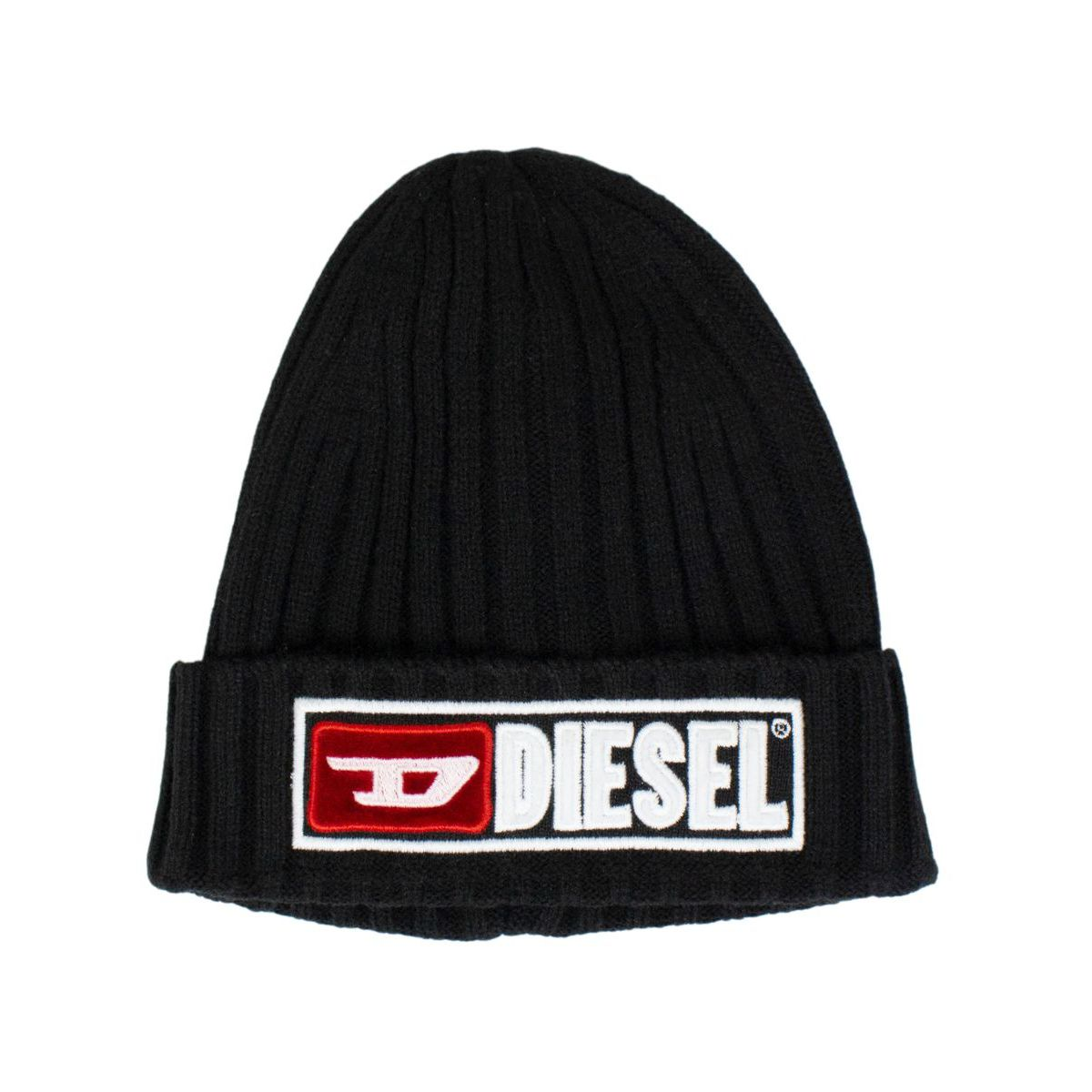 Ribbed cap with logo patch Black Diesel