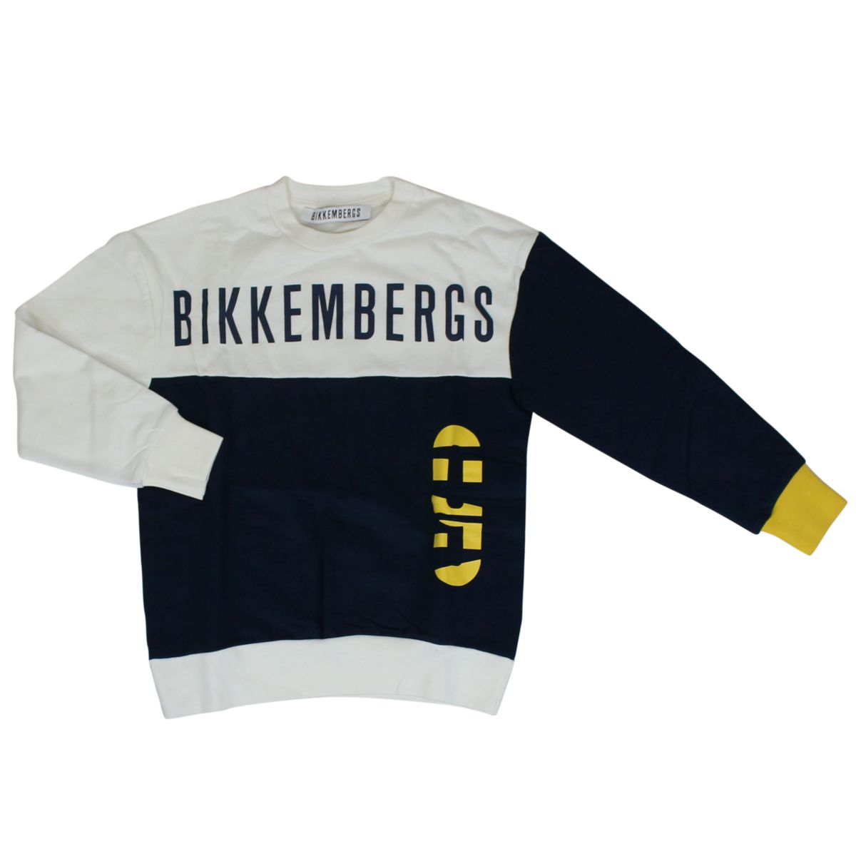 Cotton sweatshirt with maxi logo White / blue Bikkembergs