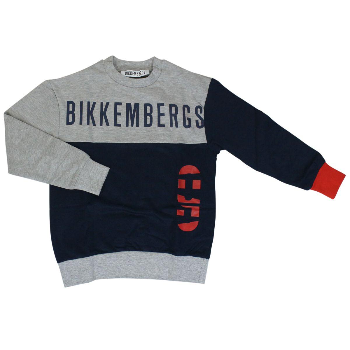 Cotton sweatshirt with maxi logo Grey Bikkembergs