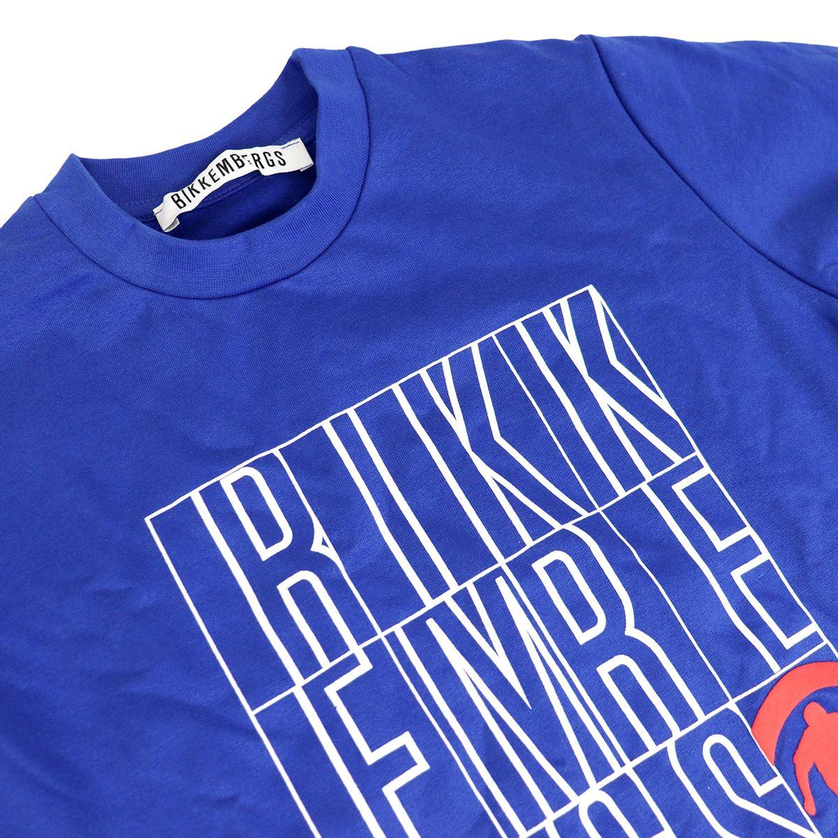 Cotton sweatshirt with maxi logo print Bluette Bikkembergs