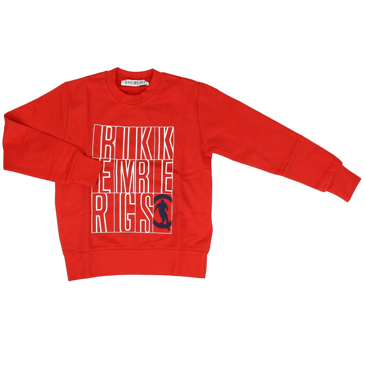 Cotton sweatshirt with maxi logo print Red Bikkembergs