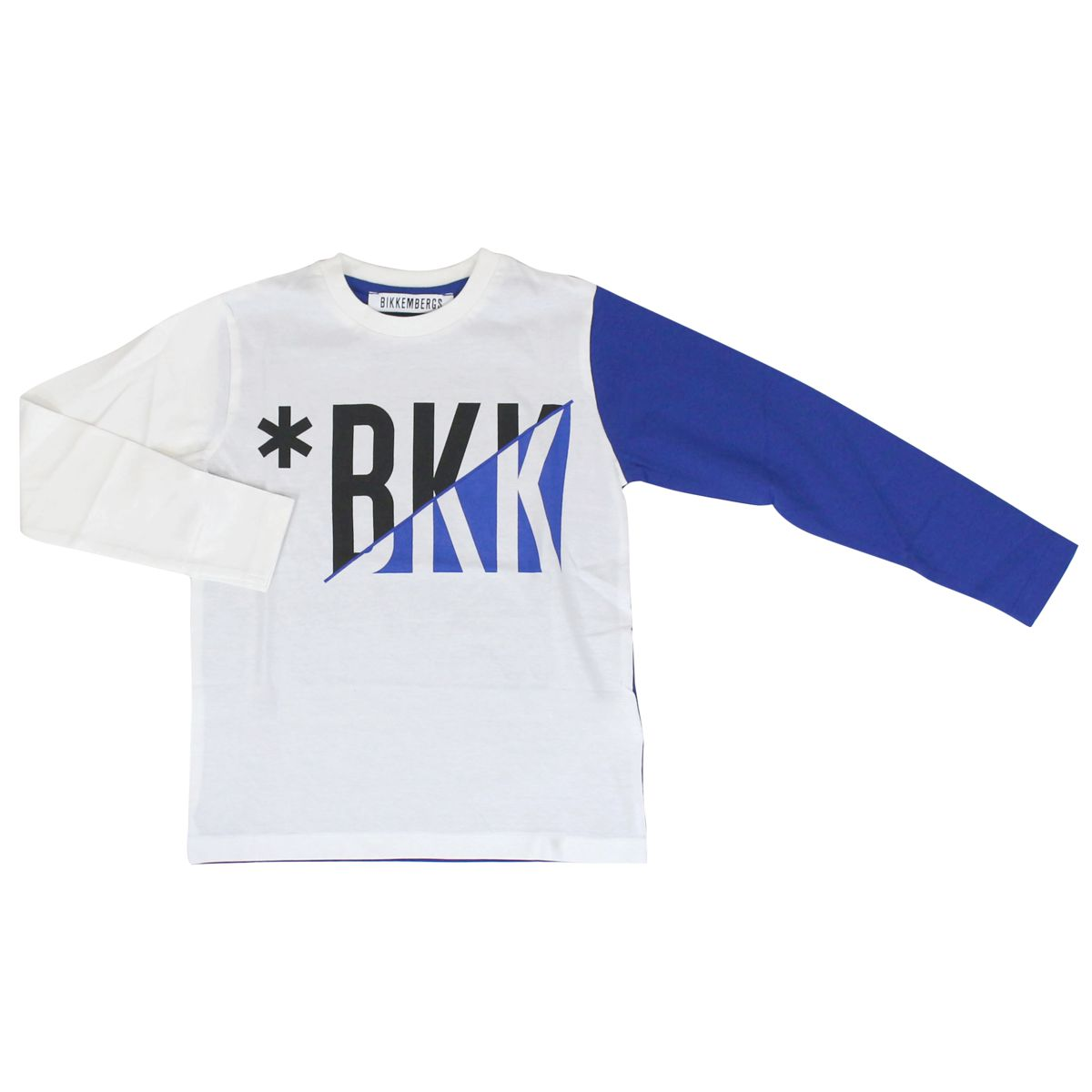 Cotton sweater with logo print and contrasting sleeves Bluette Bikkembergs