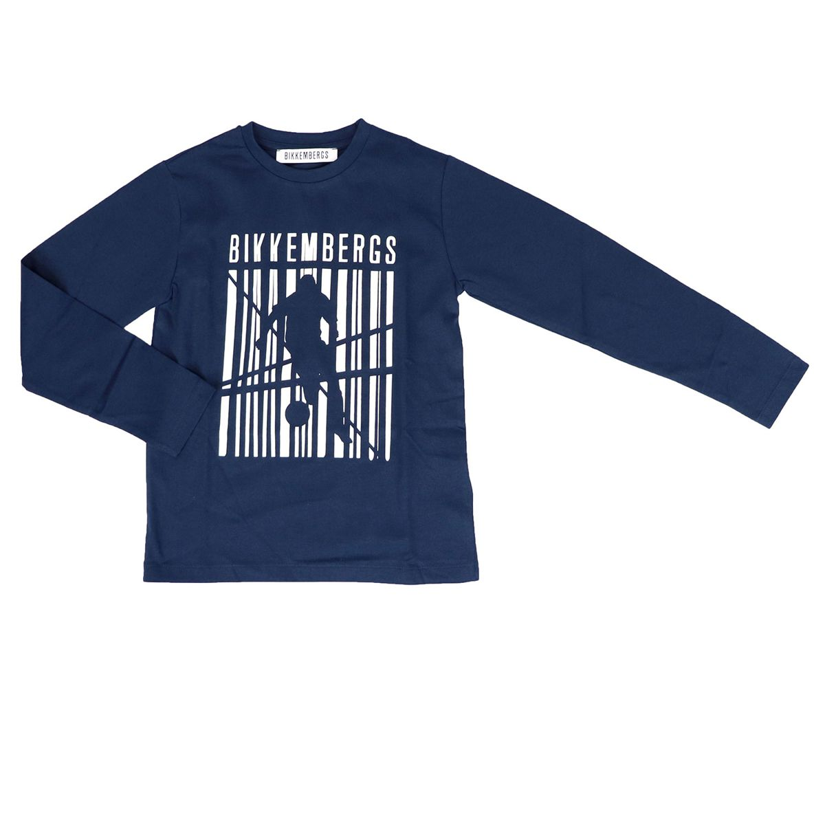 Cotton sweater with large contrasting print Blue Bikkembergs