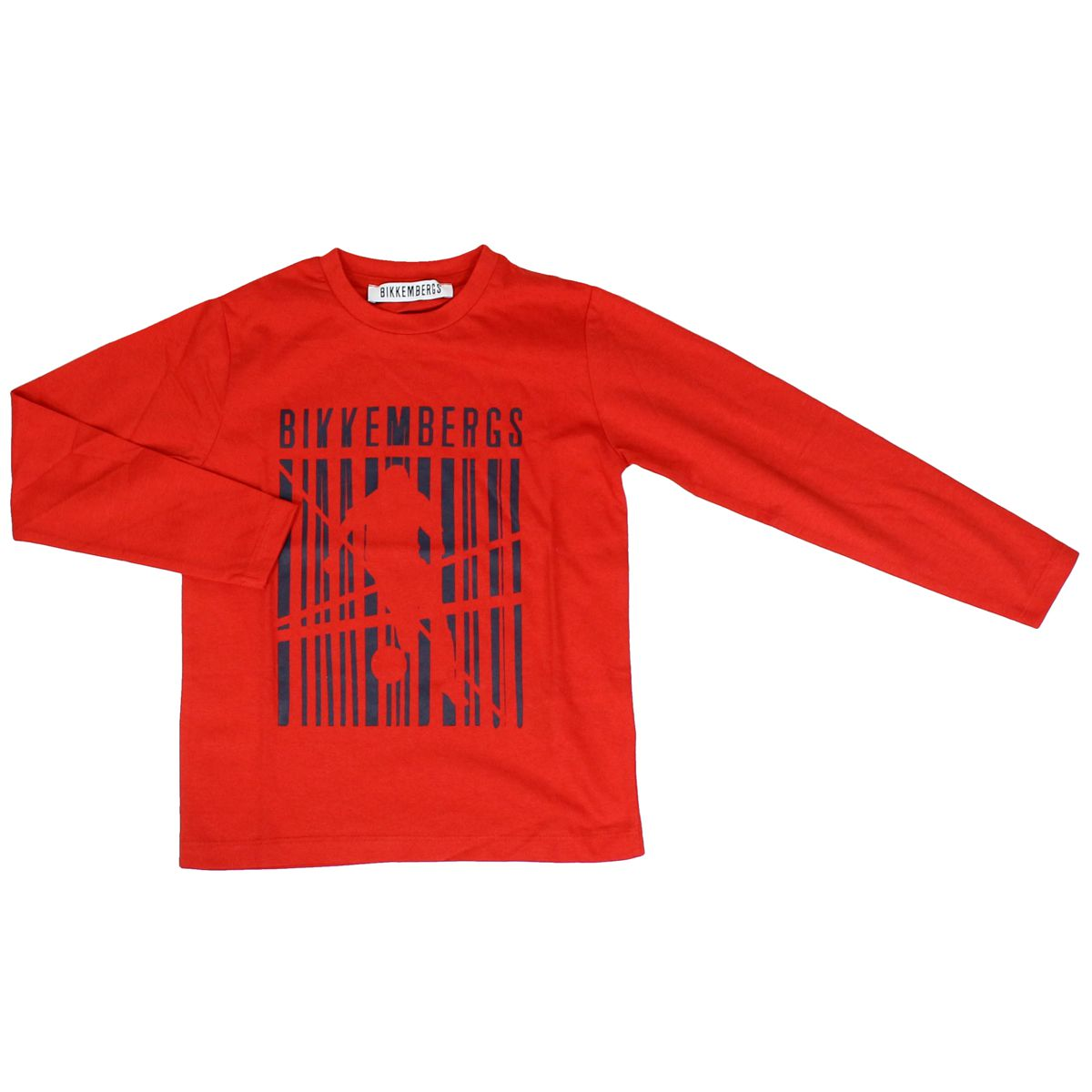 Cotton sweater with large contrasting print Red Bikkembergs