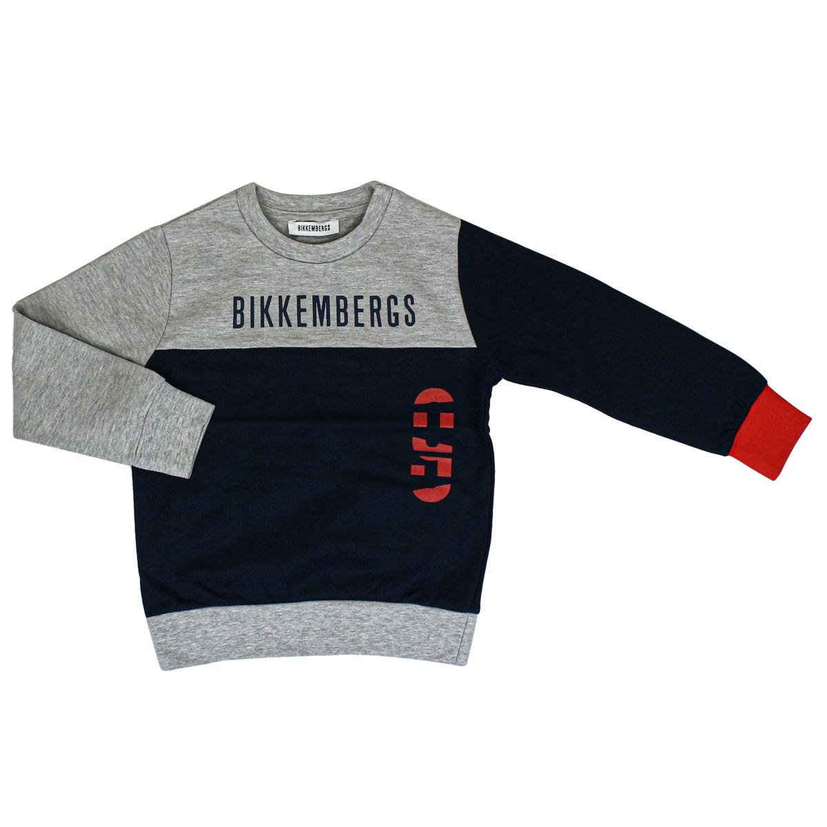 Cotton sweatshirt with logo print and contrasting sections Gray ch./blue Bikkembergs