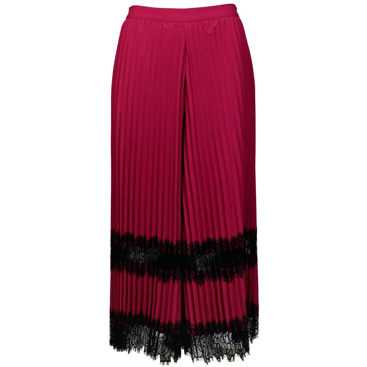 Pleated crepe pleated double lace trousers Red Twin-Set