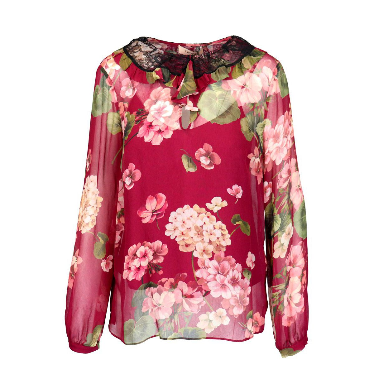 Viscose blouse with floral print and double ruffle and lace collar Geranium Twin-Set