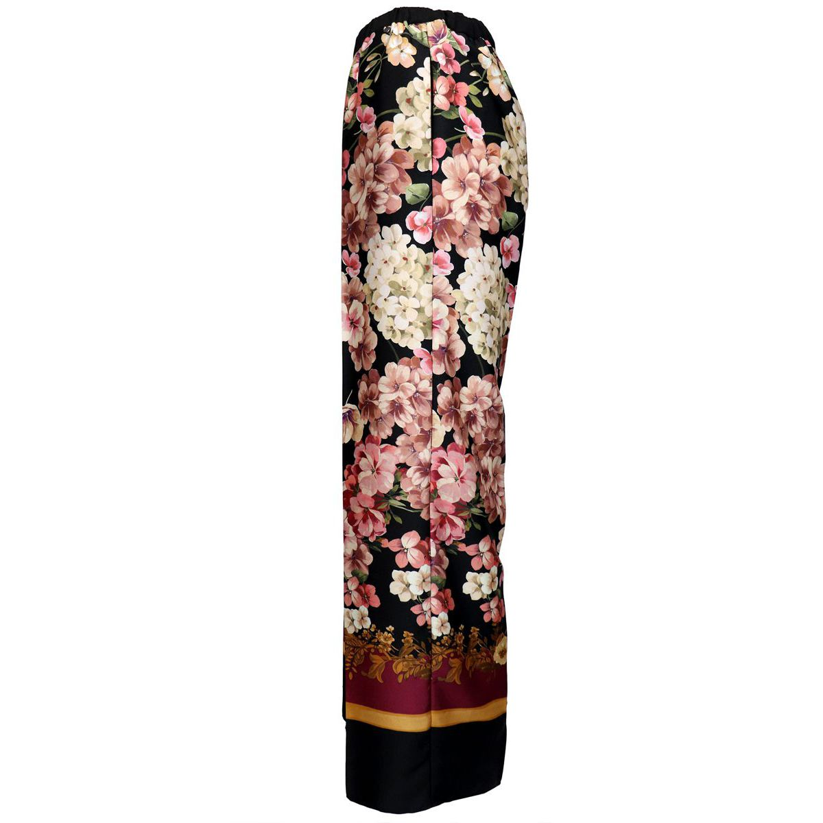 Twill palace trousers with floral print Black / burgundy Twin-Set