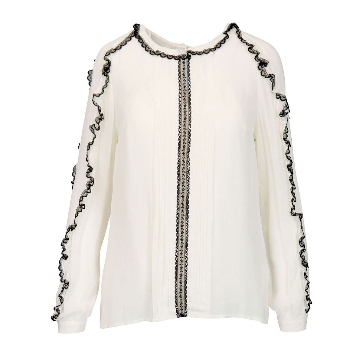Blouse in georgette with frill inserts finished in lace White black Twin-Set