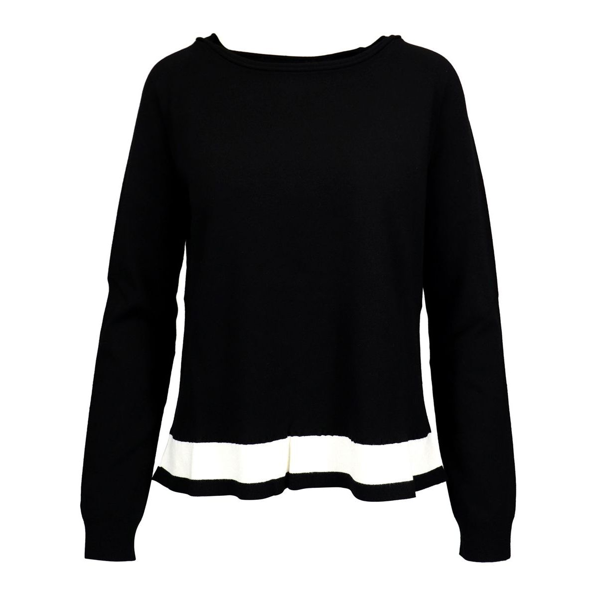 Stretch viscose sweater with contrasting band on the bottom Black / b.co Twin-Set
