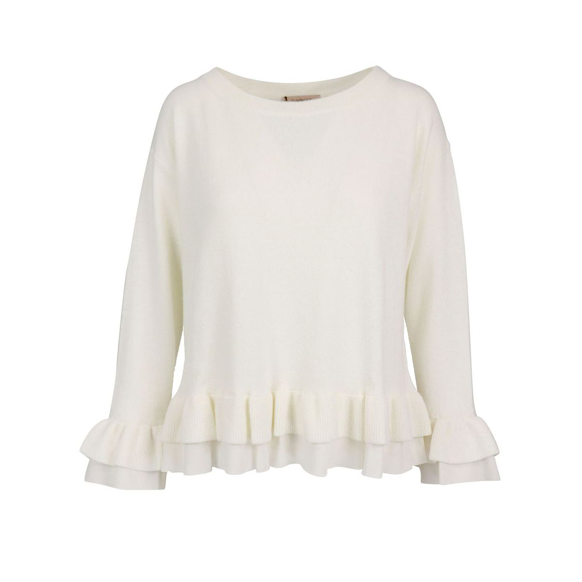 Wool and cashmere blend sweater with double flounce on the bottom White Twin-Set