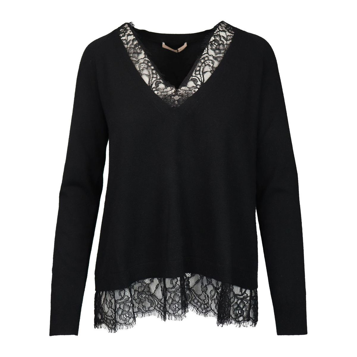 Viscose blend sweater with v-neck and scalloped lace trim Black Twin-Set