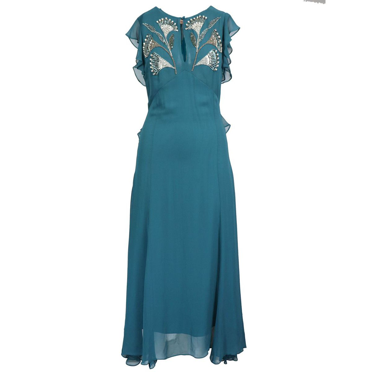 Long georgette dress with floral embroidery and details Teal Twin-Set