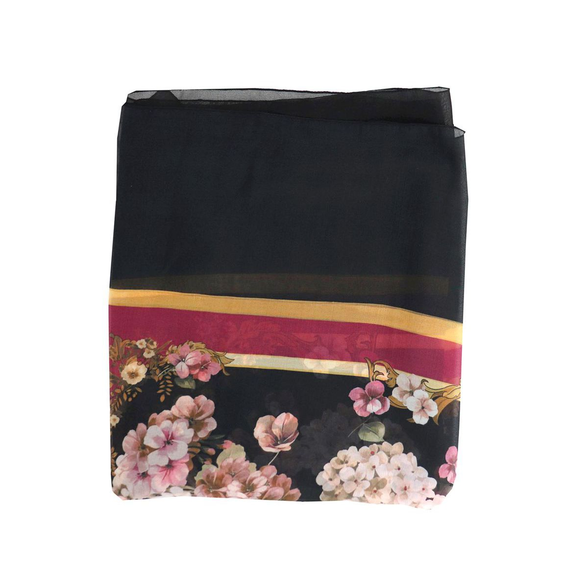 Floral print square scarf Black / burgundy Twin-Set