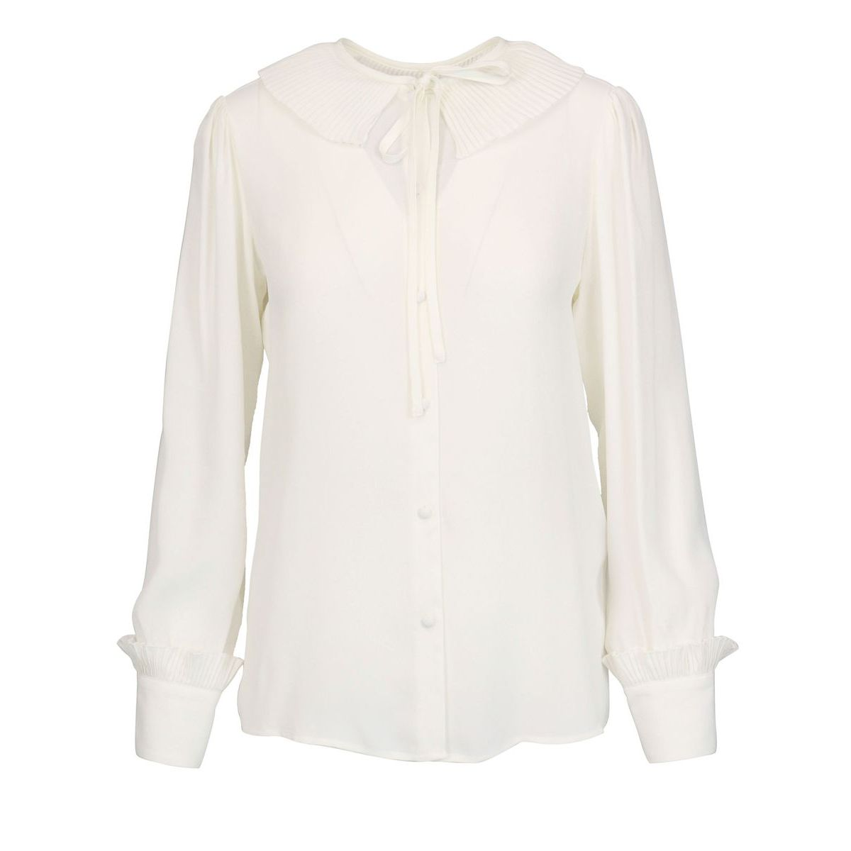 Shirt in silk blend with pleated ruffle collar and ribbon. White Twin-Set