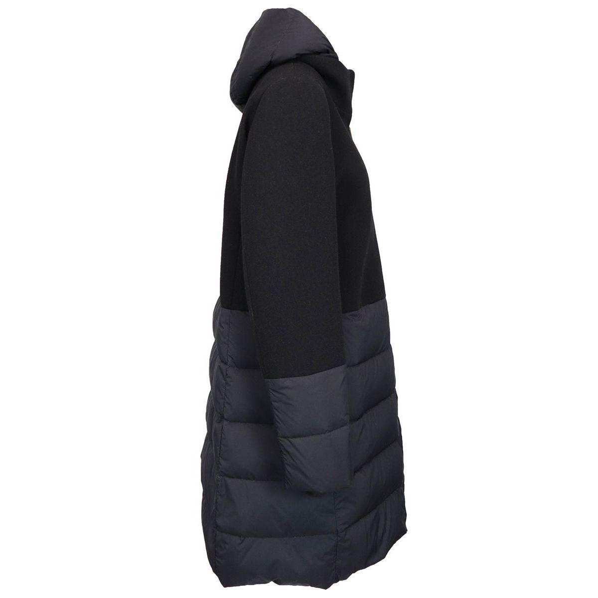 Long bi-material wool and nylon down jacket Black Herno
