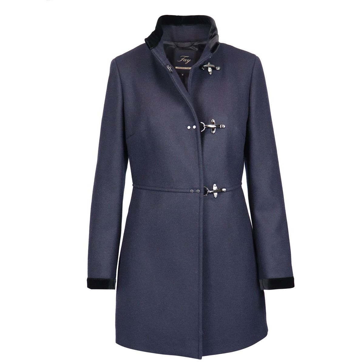 Virginia cloth coat with hooks Night blue Fay