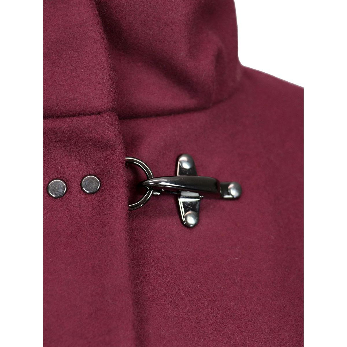 Collar coat standing with 3 hooks in woolen cloth Aubergine Fay