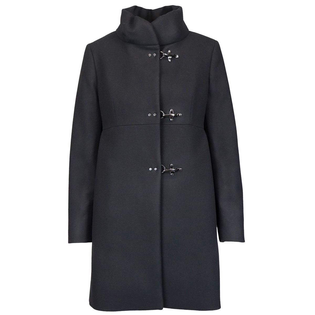 Collar coat standing with 3 hooks in woolen cloth Black Fay